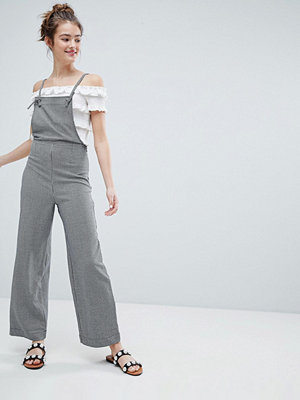 Monki Dogtooth Dungarees - Black and white