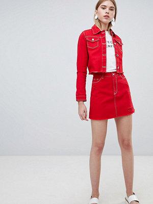 Urban Bliss A-linjeskuren jeanskjol med råskuren kant