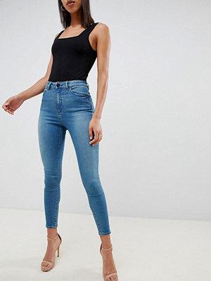 ASOS DESIGN Ridley Blågröna smala jeans med hög midja Mellangrönblå