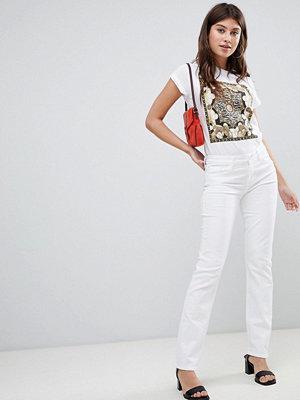 J Brand Amelia Medelhöga jeans med rak skärning Blanc