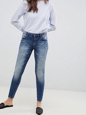 Jdy Pärldekorerade smala jeans Mellanblå denim
