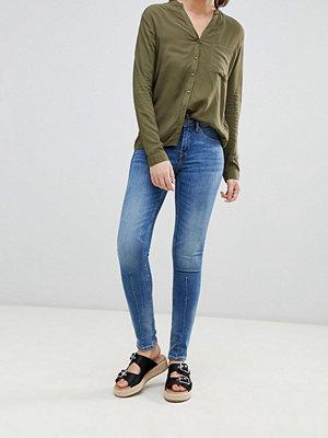 Blend She Färgstarka skinny jeans med paneler Mörkblå denim