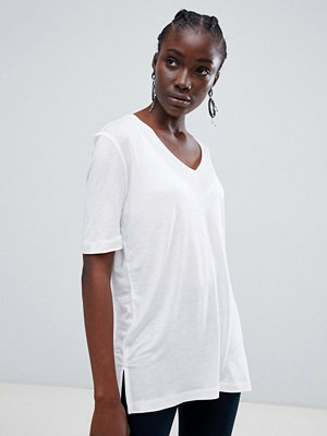 Selected Vita Glansig V-ringad t-shirt Kritvit