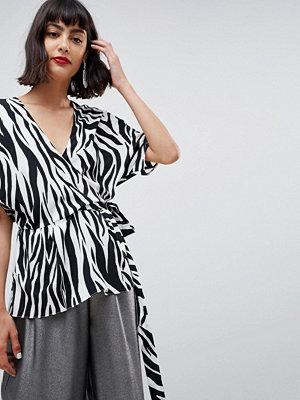 ASOS DESIGN Zebramönstrad omlott-topp med kimonoärm