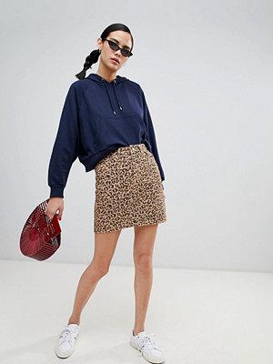 New Look Leopardpälsmönstrad denimskjorta Brunt mönster