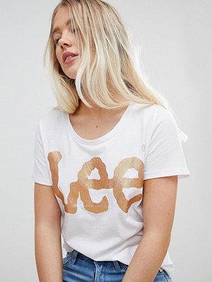 Lee Jeans Lee Klassisk t-shirt med glitterlogga Naturvit