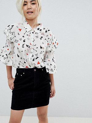 ASOS Petite Svart manchesterskjorta i originalmodell Tvättad svart
