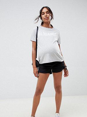ASOS Maternity Svarta shorts i enkel modell med rynkning i sidan