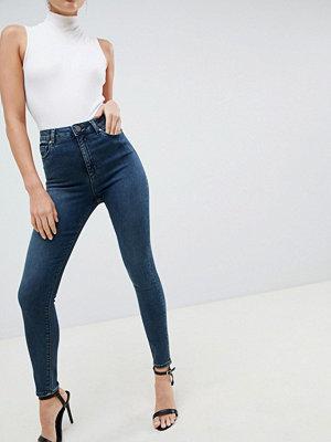 ASOS DESIGN Ridley Gråblå smala jeans med hög midja Gråblå