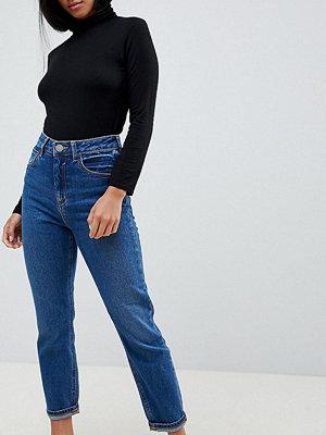 """ASOS Petite Farleigh Mörkblå jeans i """"mom jeans""""-modell med hög midja och smal passform"""