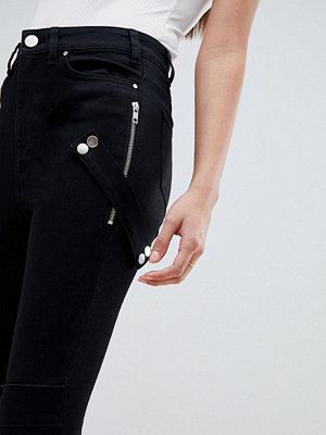 ASOS DESIGN Ridley Svarta skinny jeans med hög midja och dragkedja i bikerstil Rensvarta