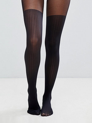 ASOS DESIGN Återvunna tights med ribbning i lårhög modell
