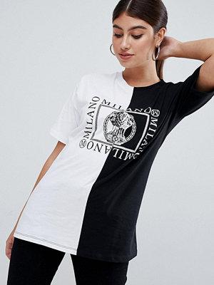 ASOS DESIGN T-shirt med delat monokromt motiv Mono