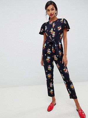 Oasis Blommig jumpsuit med kort volangärm
