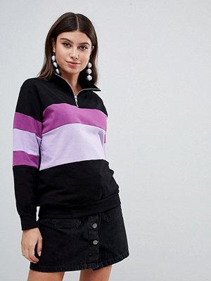 PrettyLittleThing Svart blockfärgad sweatshirt med dragkedja
