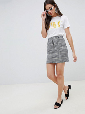 Brave Soul Adore Rutig skjorta med dragkedja Gulrutig