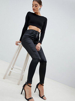 ASOS DESIGN Ridley Stretchiga skinny jeans med hög midja i glansigt satintyg