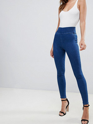 Jeans - ASOS DESIGN Matt blåa jeggings i pull on-modell Flat blue