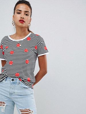 Noisy May Randig och prickig t-shirt Vit/röd/svart