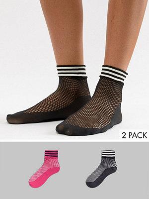 Adidas Originals 2-pack rosa och svarta strumpor i mesh