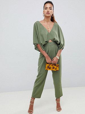 ASOS DESIGN Jumpsuit med kimonoärm och pegben Kakifärgad