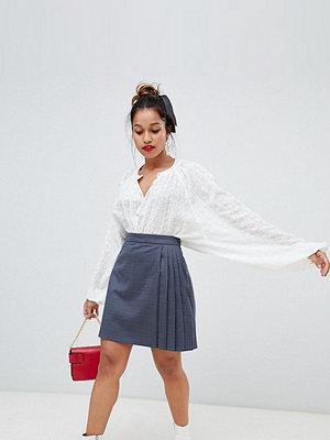 Glamorous Petite Rutig minikjol med plisserad sida Mörkblå-rutig