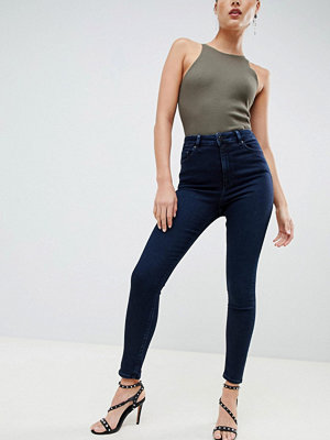 ASOS DESIGN Ridley Svartblå skinny jeans med hög midja Blackened blue