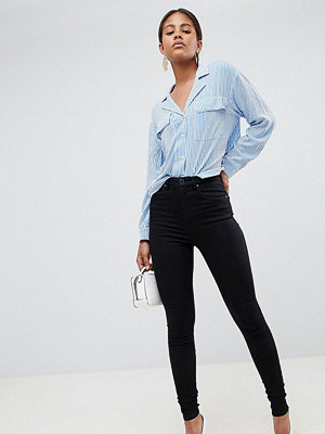 Asos Tall 'SCULPT ME' Premium Svarta jeans med hög midja