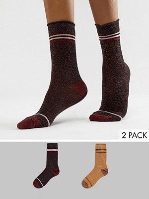 Vero Moda Glittriga strumpor 2-pack Rust and winetast