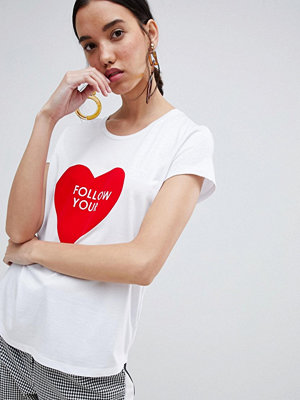 InWear T-shirt med Follow your heart-tryck