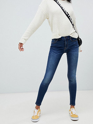 Pull&Bear Blå superskinny jeans Mörkblå