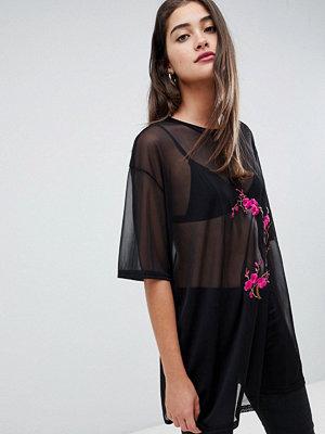 Glamorous Broderad topp i nättyg Black mesh