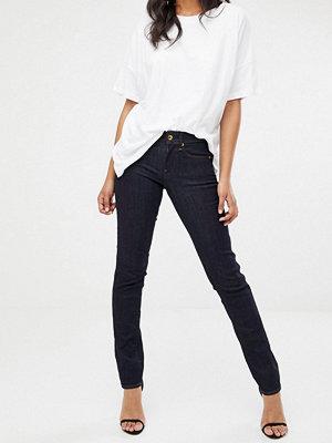 G-Star Midge Indigoblå jeans med raka ben och medelhög midja Medium indigo aged