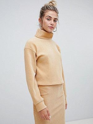 Bershka Beige sweatshirt i chenille med hög krage