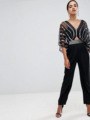 ASOS DESIGN Dekorerad jumpsuit med kimonoärm och pegben