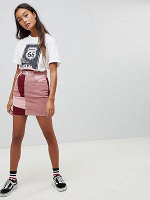 Pull&Bear Färgblock kjol i manchestertyg