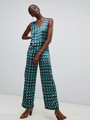 Pieces Rutig och prickig v-ringad jumpsuit