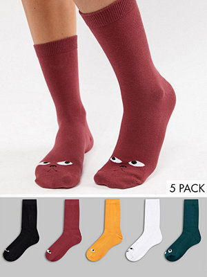 Monki Funny Face Flerfärgade strumpor i 5-pack 93-202 multicoloured
