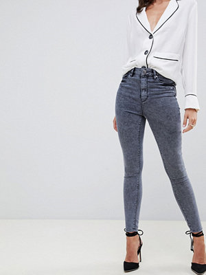 ASOS DESIGN Ridley Grå jeans i smal passform med hög midja Bensingrå