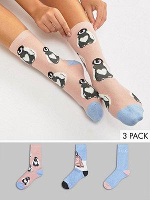 Strumpor - Sock Shop 3 pack fluffiga pingvin-strumpor i presentförpackning
