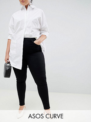 "ASOS Curve ""Sculpt me"" Svarta premium jeans med hög midja"