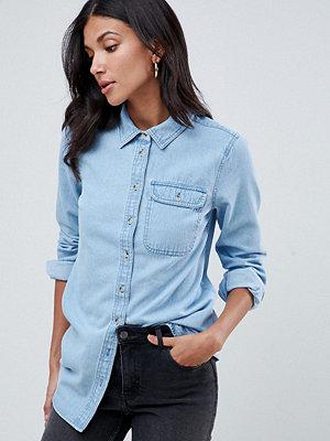 Skjortor - Asos Tall Mellanblå denimskjorta med ficka Blå tvätt