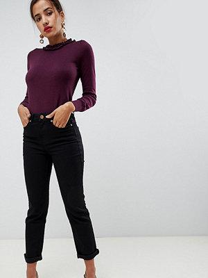 Oasis Svarta jeans med hög midja och raka ben Svart