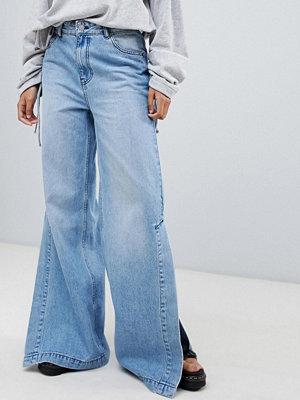 Dr. Denim Höga vida jeans med sidodetalj Ljusblå tvätt