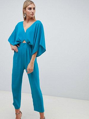 ASOS DESIGN Jumpsuit med kimonoärm och pegben Ljus blågrön