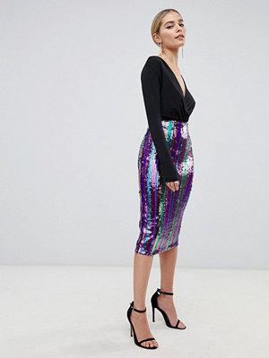 Outrageous Fortune Regnbågsfärgad bodycon-kjol i midilängd med paljetter