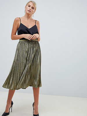 Forever Unique Guldfärgad plisserad kjol