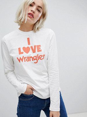 Wrangler T-shirt med tryck och lång ärm Benvit
