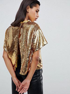 ASOS DESIGN Dekorerad T-shirt med paljetter och öppen rygg