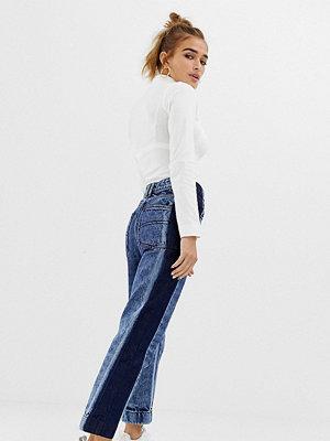 Collusion Petite stentvättade jeans med kontrastpanel Mid snow wash